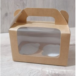 Коробка для кексов 2 шт крафт