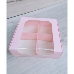 Коробка для десертів 200*200*60 з вікном Фламінго