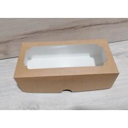 Коробка для кексу Штоллен з вікном 150*300*90 крафт