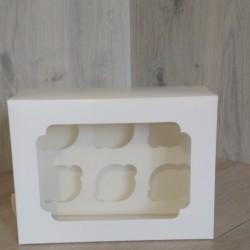 Коробка для 6 кексів Біла + вікно