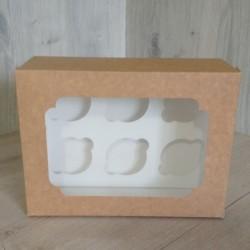 Коробка для 6 кексів Крафт + вікно