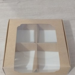 Коробка для десертів 200*200*60 з вікном Крафт