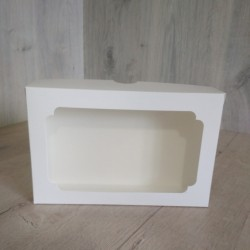 Коробка для еклерів 230*150*60 з вікном біла