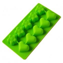 Форма силиконовая Сердечки-Цветочки 10 шт на планшете
