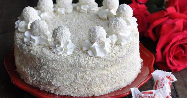 Торт «Рафаэлло» для влюбленных