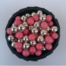 Цукрові кульки мікс рожевий з сріблом
